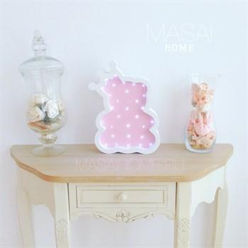 Мишка с короной белый+розовый - фото 4523