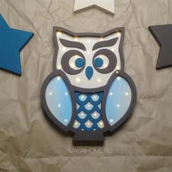 """Ночник для детской комнаты """"Совушка"""" Masaihome венге+сине-голубой - фото 4538"""