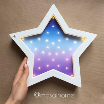 """Ночник из дерева """"Звезда"""" Masaihome белый+космический градиент - фото 4566"""