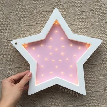 """Ночник из дерева """"Звезда"""" Masaihome белый+розовый - фото 4584"""