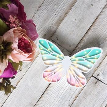 """Деревянный светильник """"Бабочка"""" Masaihome/ Мята+Розовый - фото 4597"""