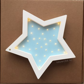 """Ночник из дерева """"Звезда"""" Masaihome белый+голубой - фото 4619"""