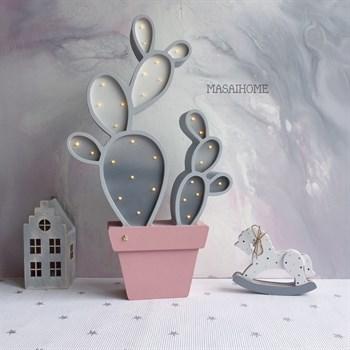Ночник Кактус - серый+пыльная роза - фото 4623