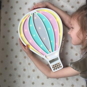 """Детский ночник """"Воздушный шар"""" Masaihome белый+мята-розовый-ваниль - фото 4645"""