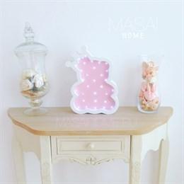 Мишка с короной белый+розовый