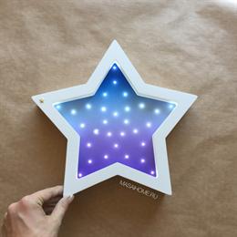 """Ночник из дерева """"Звезда"""" Masaihome белый+сине-сиреневый градиент"""