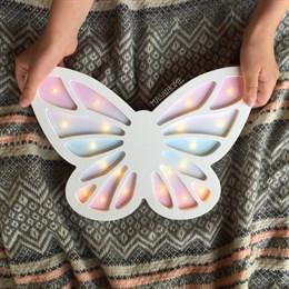 "Деревянный светильник ""Бабочка"" Masaihome белый + цвет"