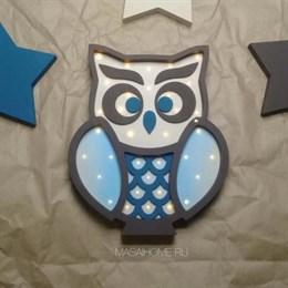 """Ночник для детской комнаты """"Совушка"""" Masaihome венге+сине-голубой"""