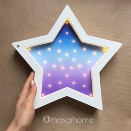 """Ночник из дерева """"Звезда"""" Masaihome белый+космический градиент"""