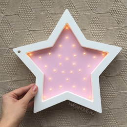 """Ночник из дерева """"Звезда"""" Masaihome белый+розовый"""