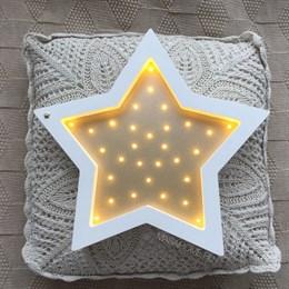 """Ночник из дерева """"Звезда"""" Masaihome белый+золото"""