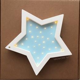 "Ночник из дерева ""Звезда"" Masaihome белый+голубой"