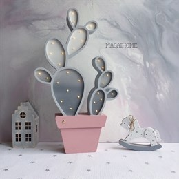Ночник Кактус - серый+пыльная роза